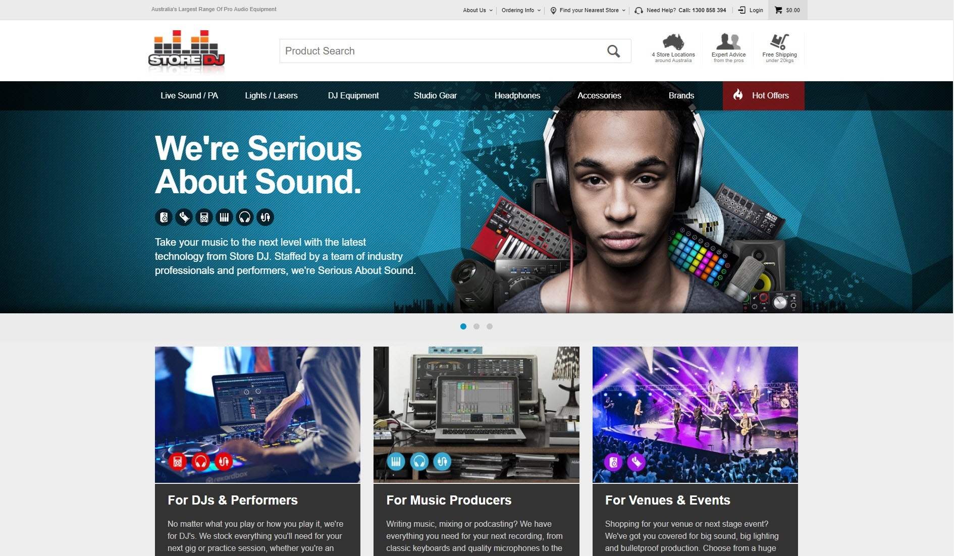 Image of Store DJ's website home page