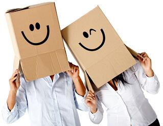 Couple of cardbord characters with smiley faces - isolated over a white background.jpeg
