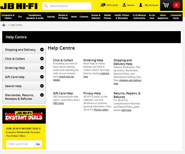 JB Hi Fi FAQ page example